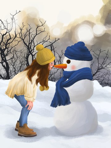 december hello winter outdoor beautiful scenery snowman and girl illustration image