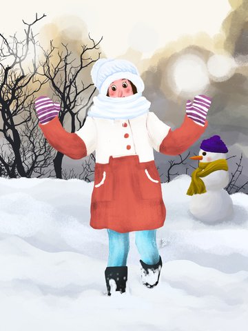 december hello little girl playing in the winter outdoors illustration image