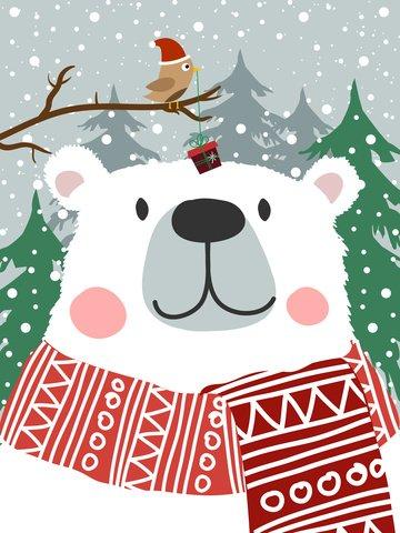 penyembuhan beruang kutub disember hello ilustrasi imej ilustrasi