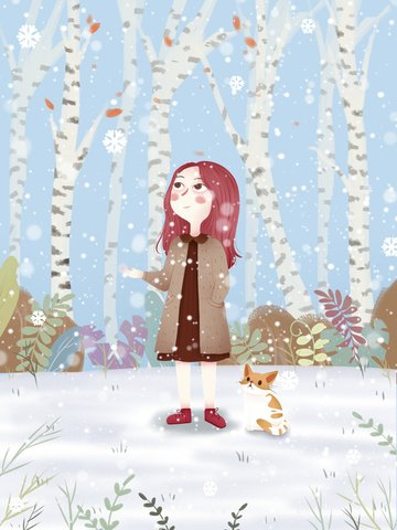 december hello little girl illustration illustration image