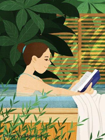 hot spring girl original hand drawn illustration llustration image illustration image