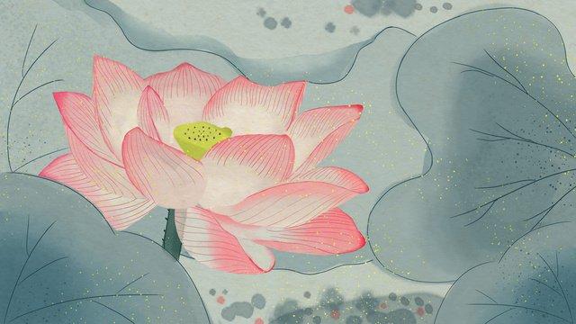 ilustração original da tinta do vintage lótus Material de ilustração