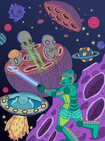 Stroke style cosmic adventure illustration wallpaper album psd robot llustration image