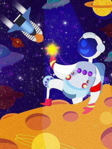 星間宇宙飛行士スペース探査図 イラスト素材