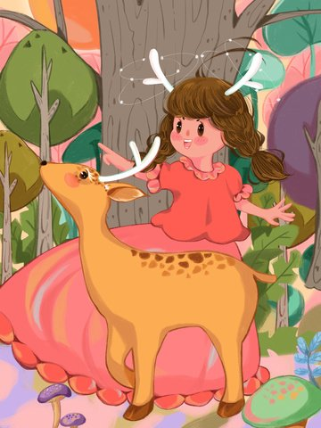 Lin shen see the deer cure system girl and play warm illustration, Lin Shen Sees The Deer Healing System, Forest, Girl illustration image