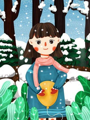 Cute cartoon winter little fresh girl holding balloons, Lovely, Cartoon, Winter illustration image
