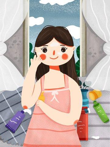 귀여운 만화 신선한 소녀 스킨 케어 아름다움 메이크업 삽화 이미지