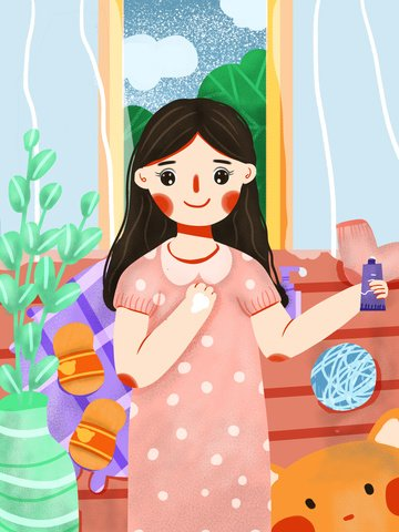 Cute little fresh flat wind beautiful girl beauty skin care, Lovely, Small Fresh, Beautiful illustration image
