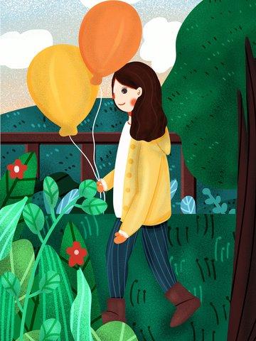 겨울 12 월 안녕하세요 귀여운 작은 소녀 풍선을 들고 삽화 소재 삽화 이미지