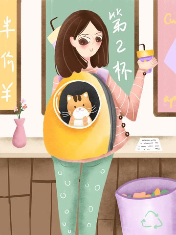 Cute pets accompanying the scene of girl back cat shopping hand painted illustration llustration image