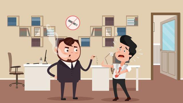オフィス禁煙フラット風の世界は喫煙日イラストをやめる事務所  机  本棚 PNGおよびPSD illustration image