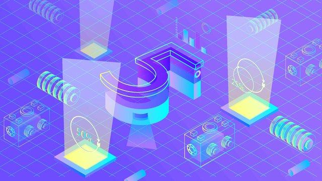 Artificial intelligence 2.5d virtual breathable illustration, Original, Business Illustration, Wallpaper Poster illustration image