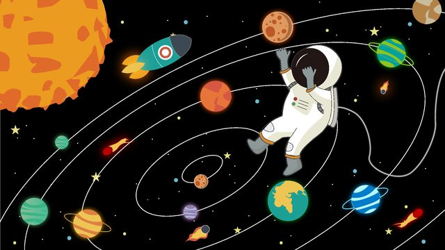 Original hand-painted illustration of space exploration astronauts exploring in, Original Hand Drawn Illustration, Cosmic Exploration, Astronaut illustration image
