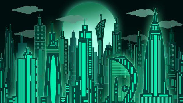 Original illustration city building, Silhouette, Moon, Original illustration image