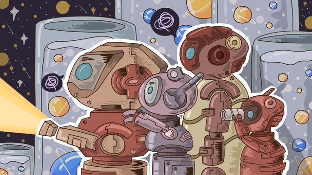 space adventure robot nightingale planet lab llustration image