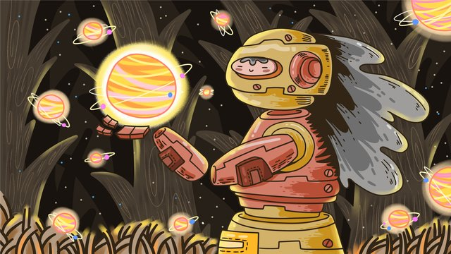 a mechanical alien looking for planet in the jungle of space exploration llustration image