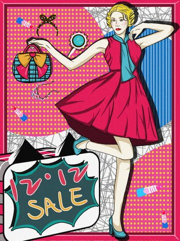 Pop wind Double Twelve girl Mid-year promotion, Contrast Color, Illustration, Double illustration image