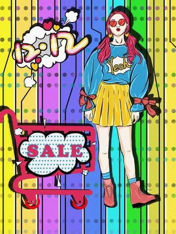 Pop wind Double Twelve shopping cart girl, Contrast Color, Illustrator, Pop Wind illustration image