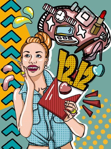 Pop wind Gorgeous Double Twelve Year-end promotion, Shopping, Business, Cosmetic illustration image