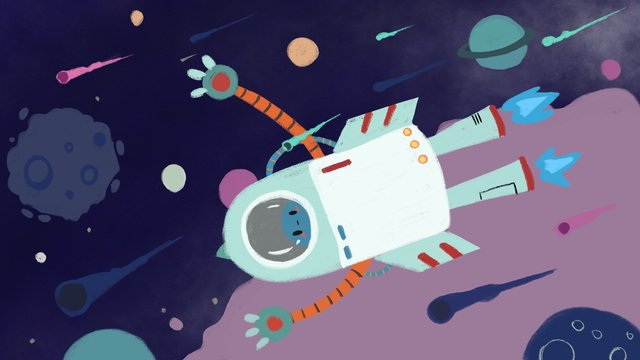 space flight with robots and planet llustration image