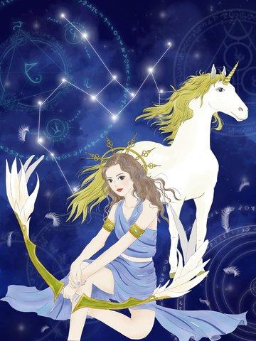 射手座星座女神手描きイラスト イラスト素材 イラスト画像