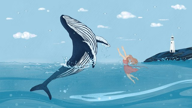 When the sea is blue see whale cure illustration girl and, Sea, Blue Sky, White Clouds illustration image