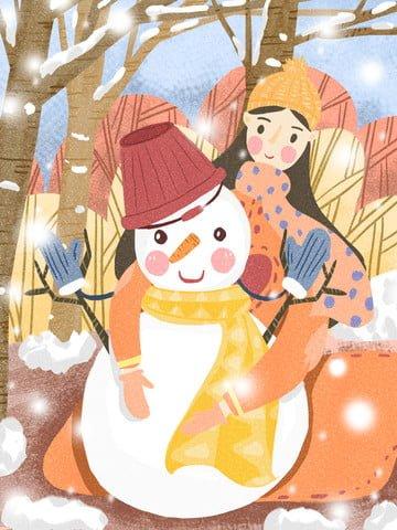 december hello snowy day girl snowman cold season llustration image