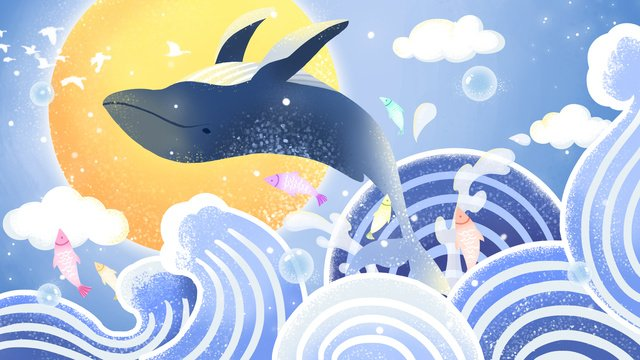 Sea blue cure whale jump surface, See The Whale When The Sea Is Blue, Whale, Wave illustration image
