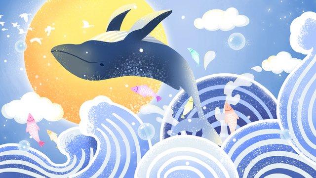 海藍治愈系鯨躍海面 插畫素材