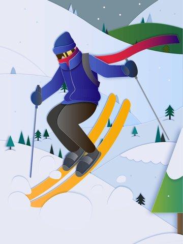 Ski character scene snowing winter paper cut, Ski, Character, Scenes illustration image