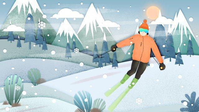 ski scene paper cut wind flat illustration llustration image