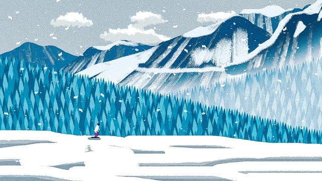 스키 장면 겨울 눈이 야외 현장 질감 일러스트 레이션 삽화 소재