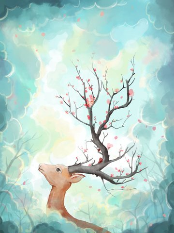 Original small fresh illustration deer looking up at the sky, Sky Clouds, Small Fresh Illustration, Deer illustration image