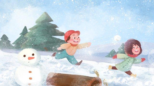 winter snowy jungle snow mountain kids playing snowballs llustration image illustration image