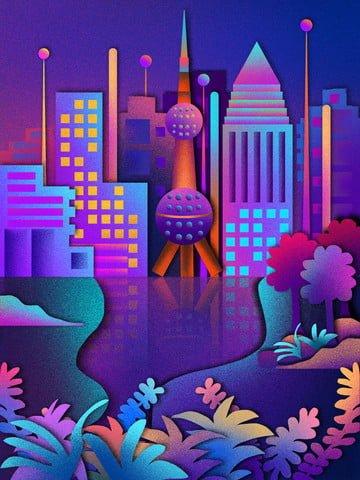 Thực vật hạt có cắt hình vẽ minh họa cho thành phố vào ban đêmHòn  Ngọc  Phương PNG Và PSD illustration image