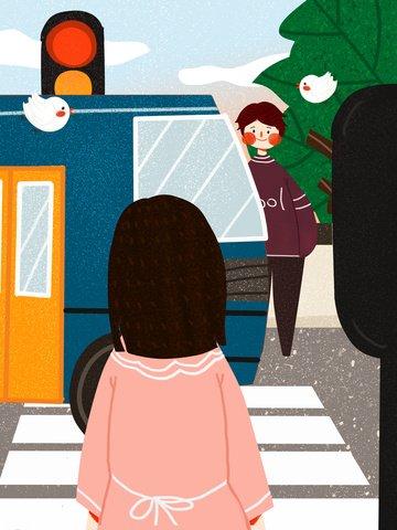 交通安全文明の旅が可愛い平たいオリジナルイラスト イラスト画像