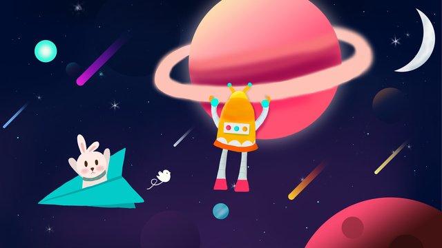 cosmic star robot adventure rabbit moon nebula planet llustration image