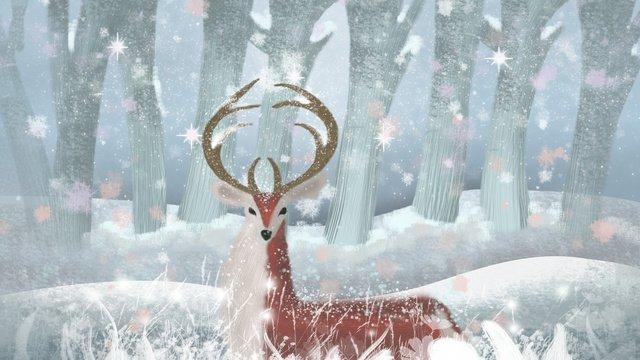 12 월의 눈에서의 안녕 사슴 삽화 소재