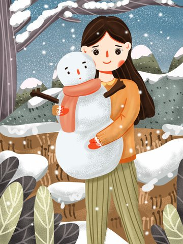 hello little fresh girl and snowman playing in december illustration image