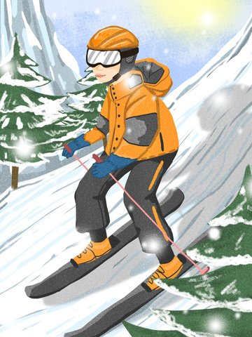 Skiing winter snow mountain boys illustration image