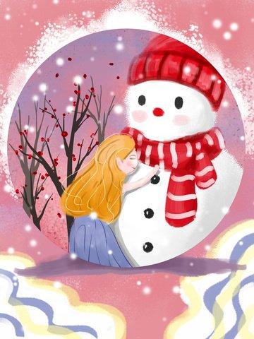 눈사람을 껴안고 겨울 소녀 삽화 소재