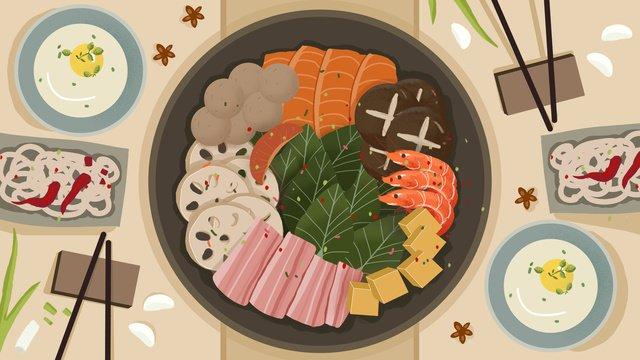 冬の温かい鍋料理イラスト イラスト素材 イラスト画像