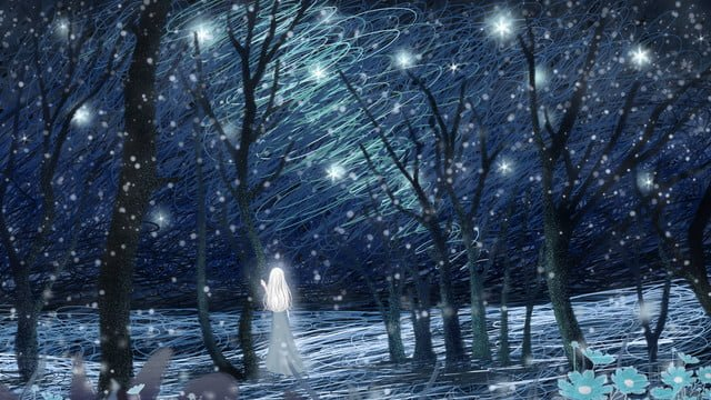 winter whisper beautiful fresh illustration coil impression girl in the snow llustration image