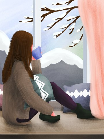 winter whisper looking at the girl outside window llustration image illustration image