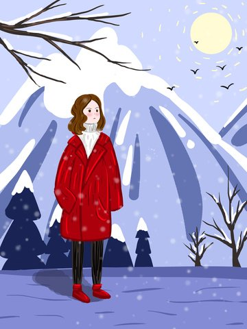 Girl watching snow in winter snowy day llustration image