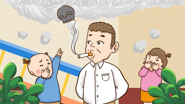 世界は喫煙日をやめる子供たちはお父さんの喫煙手描きオリジナルイラストを停止 イラスト素材