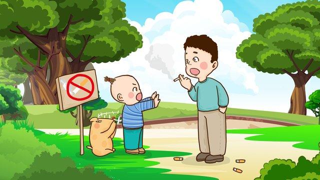 世界禁煙日子供たちは森林火災を防ぐために喫煙から大人を止めます世界禁煙の日  禁煙の日  禁煙です PNGおよびPSD illustration image