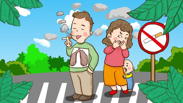 world quit smoking day women and children on the road cant stand smokers llustration image