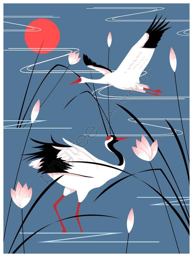 झील में प्राकृतिक छाप चित्रण सफेद क्रेन, प्राकृतिक छाप, सफेद क्रेन, क्रेन llustration image