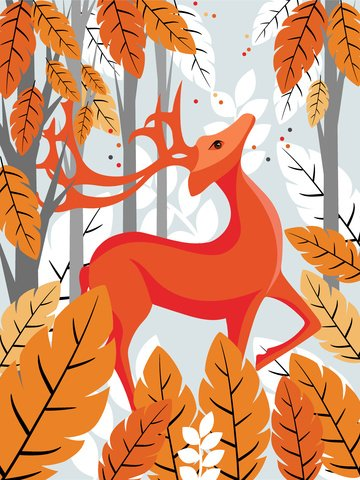 작은 신선한 동물 각인 사슴 그림 삽화 소재